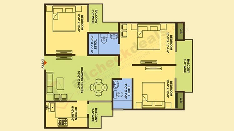Officer city 2 Super Area 1350 Sq. Ft.