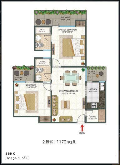 Platinum 321 floor plan 1170 sq. ft.