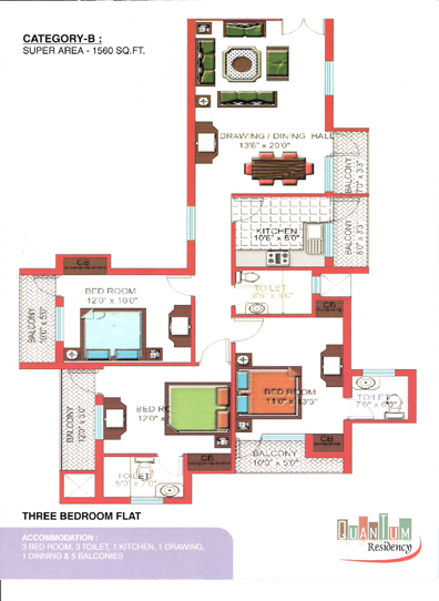 Quantum Residency Raj Nagar Extension floor plan 1560 sq. ft.