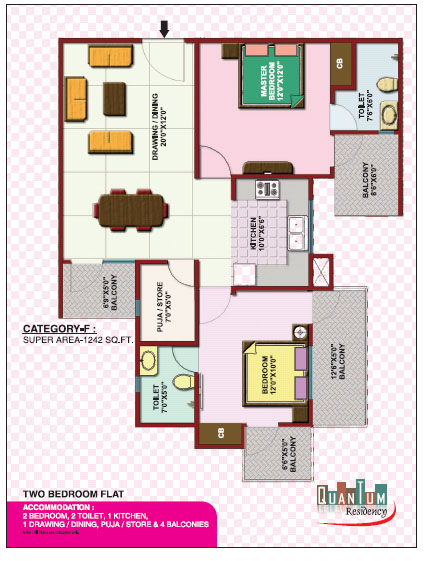 Quantum Residency Raj Nagar Extension floor plan 1242 sq. ft.