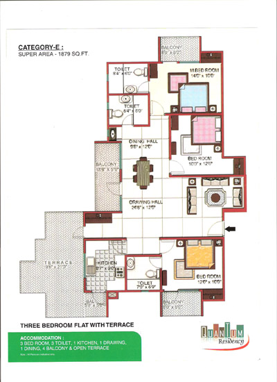 Quantum Residency Raj Nagar Extension floor plan 1879 sq. ft.