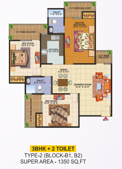 SCC Builders Raj Nagar Extension floor plan 1350 sq. ft.