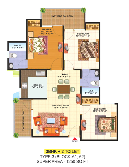 SCC Builders Raj Nagar Extension floor plan 1250 sq. ft.