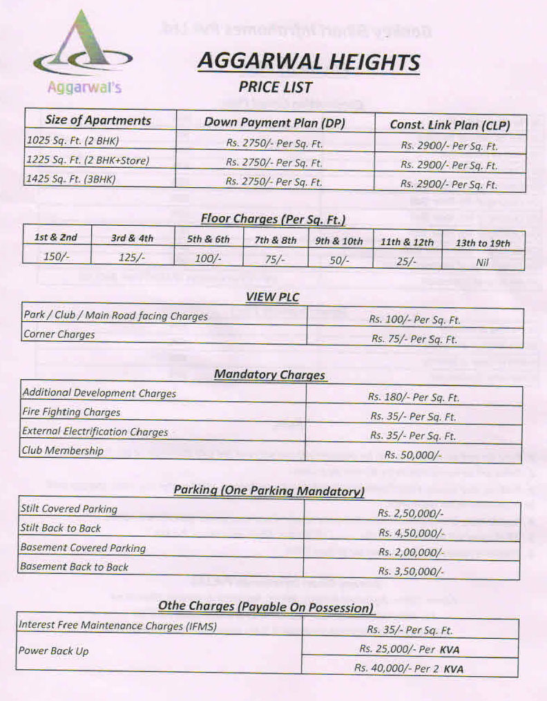 Agarwal heights   Price List