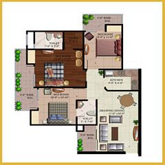 AR Reflections floor plan 1355 Sq. Ft. 3BHK