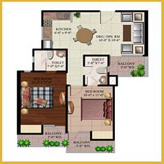 AR Reflections floor plan 1003 Sq. Ft. 2BHK