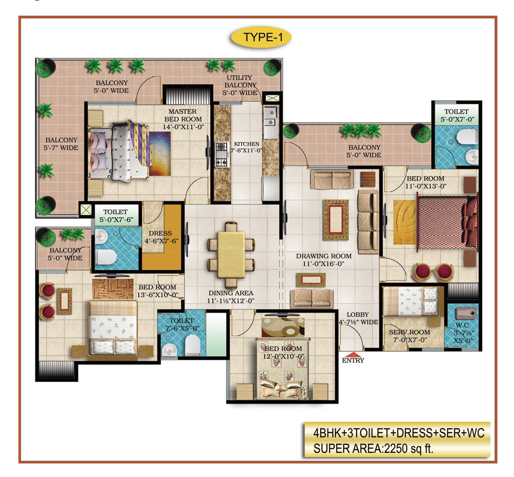 High End Group Raj Nagar Extension floor plan 2250 sq. ft.