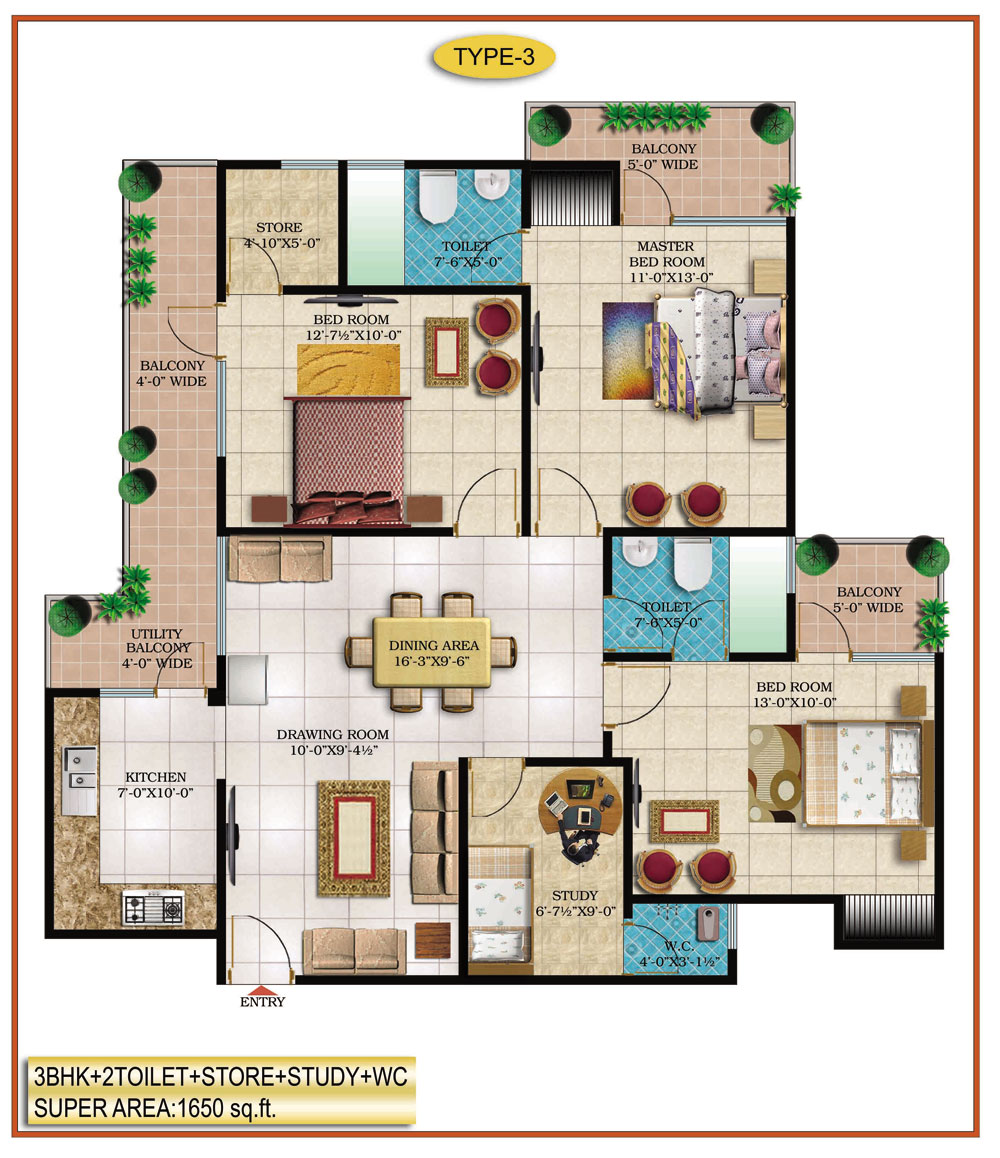 High End Group Raj Nagar Extension floor plan 1650 sq. ft.