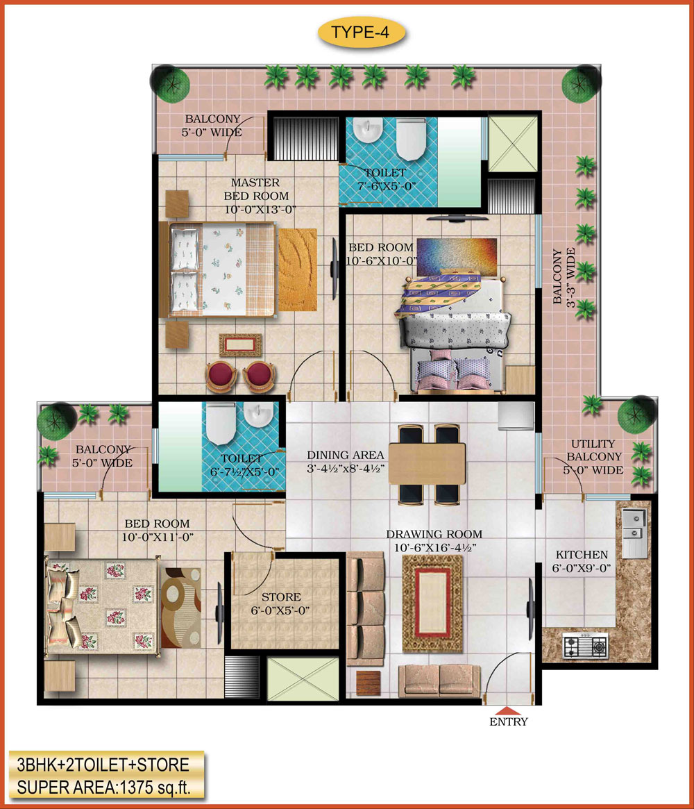 High End Group Raj Nagar Extension floor plan 1375 sq. ft.