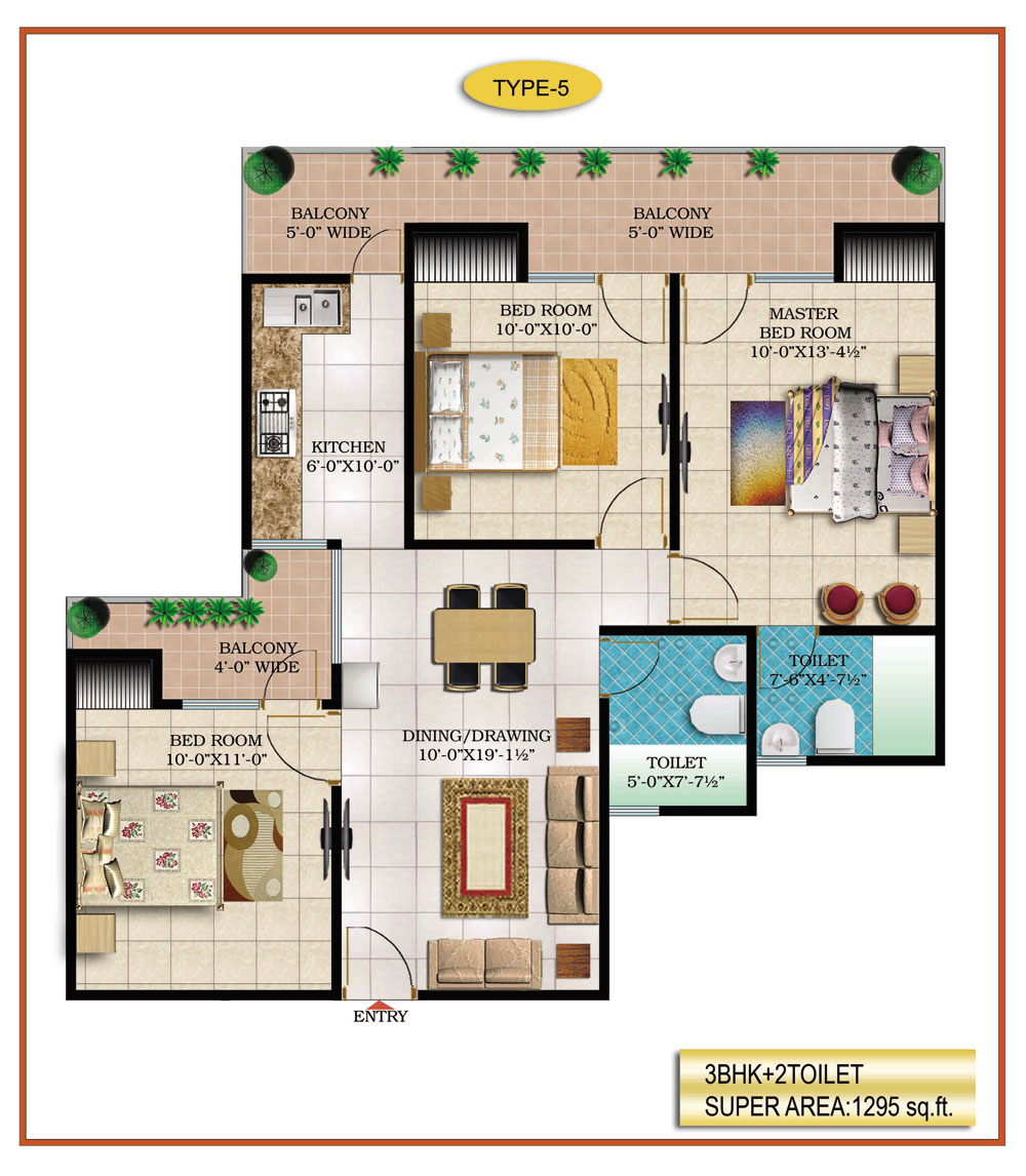 High End Group Raj Nagar Extension floor plan 1295 sq. ft.