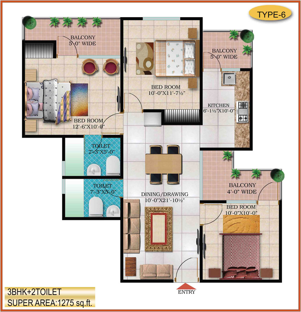 High End Group Raj Nagar Extension floor plan 1125 sq. ft.
