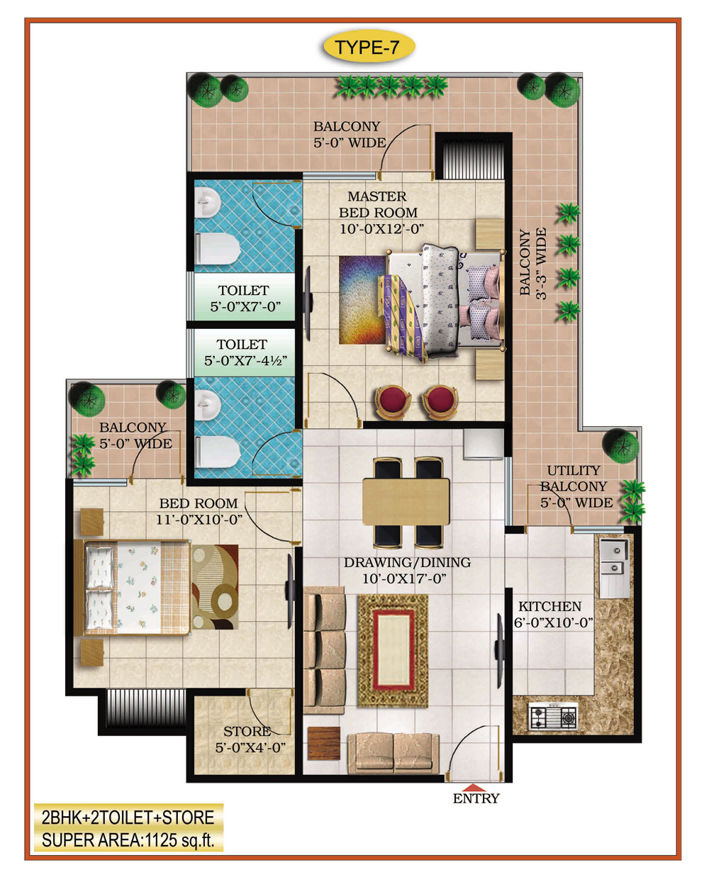 High End Group Raj Nagar Extension floor plan 995 sq. ft.