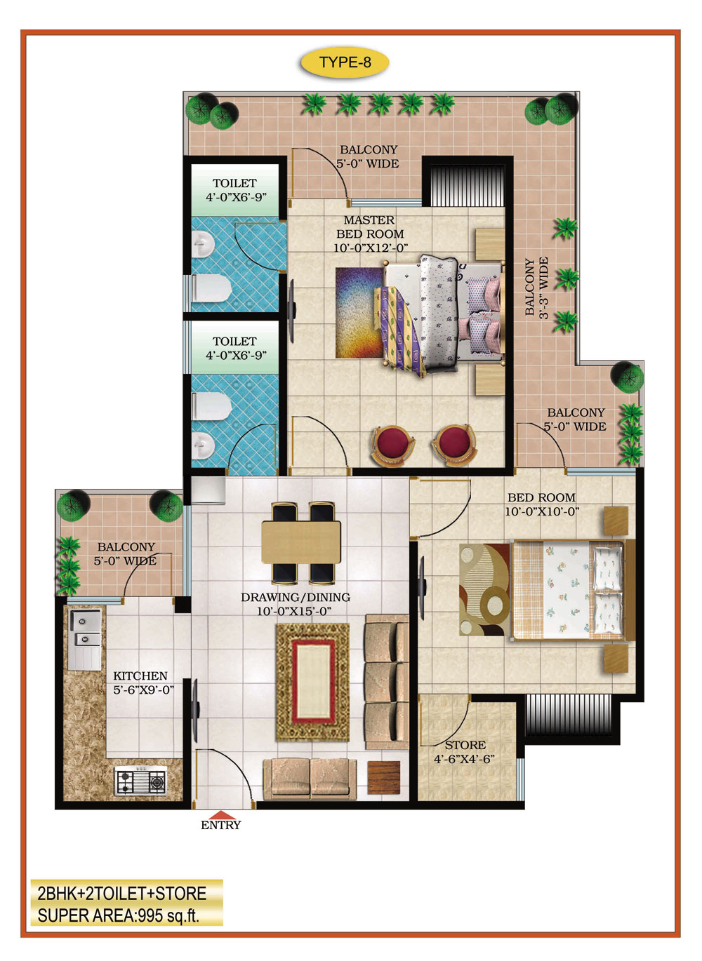 High End Group Raj Nagar Extension floor plan 895 sq. ft.