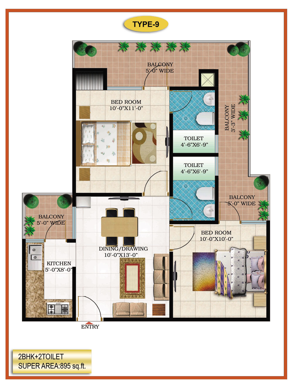 High End Group Raj Nagar Extension floor plan 1275 sq. ft.