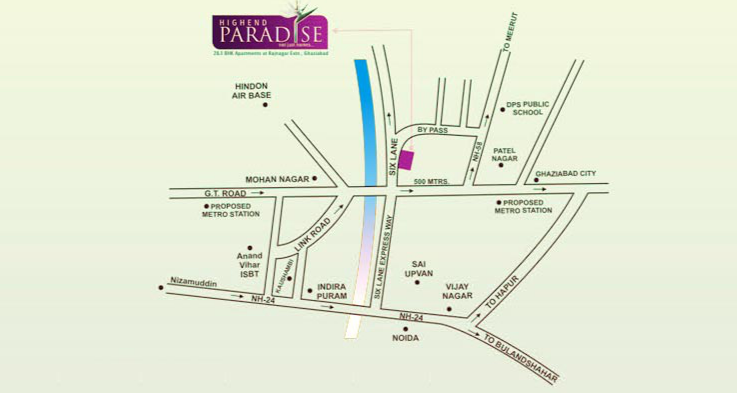 High End Group Raj Nagar Extension Location Map