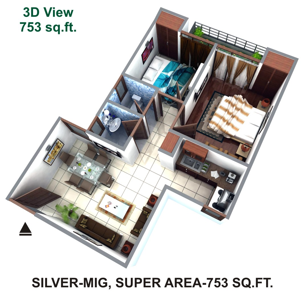 Himalaya Tanishq Raj Nagar Extension floor plan 1080 sq. ft.