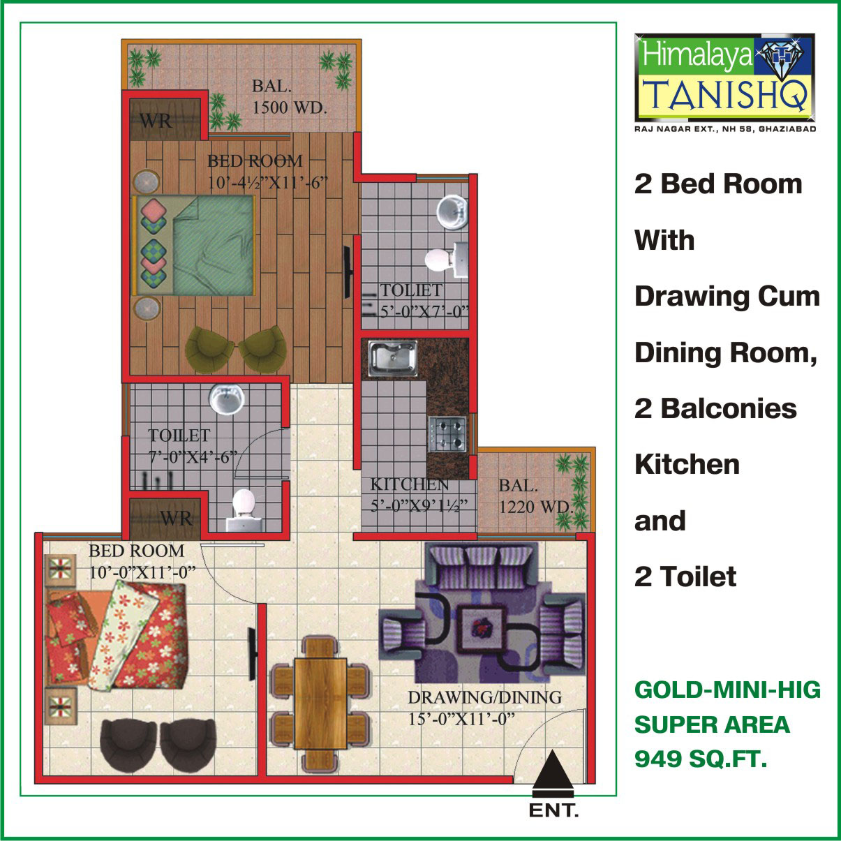 Himalaya Tanishq Raj Nagar Extension floor plan 1350 sq. ft.
