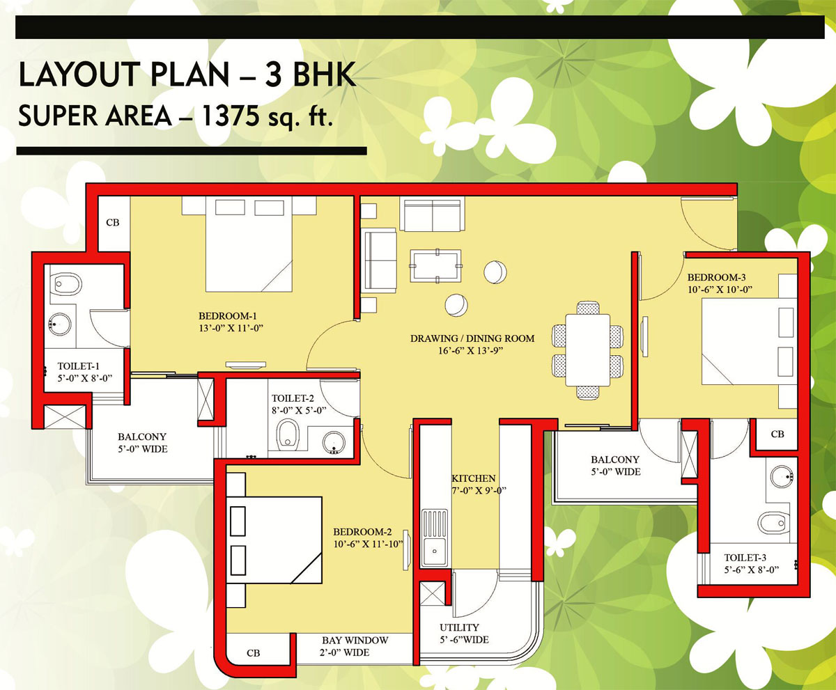 Nilaya central park floor plan 1375 sq. ft.
