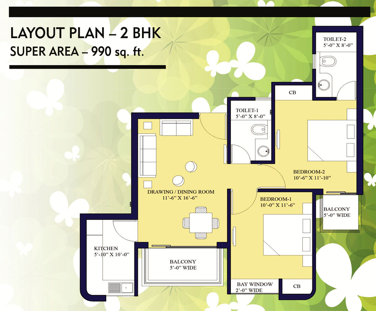 Nilaya central park floor plan 990 sq. ft.