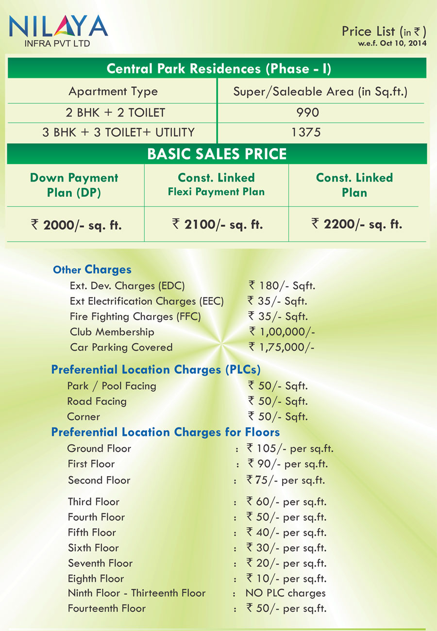 Nilaya central park Price List