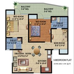 Ascent Satya Ville De Phase 1 floor plan 1108 sq ft