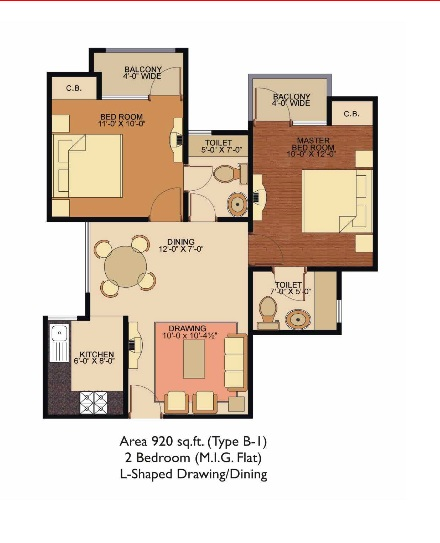 Shree Energy  floor plan 920 sq. ft.